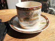 VINTAGE HANDPAINTED SMALL BEAKER CUP & SAUCER ORIENTAL JAPAN BOATING SCENE HOUSE